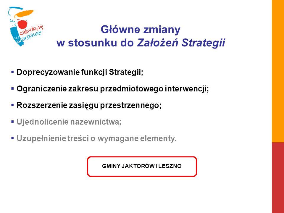 Główne zmiany w stosunku do Założeń Strategii  Doprecyzowanie funkcji Strategii;  Ograniczenie zakresu przedmiotowego interwencji;  Rozszerzenie za