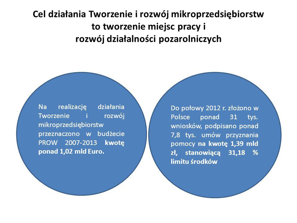 Cel działania Tworzenie i rozwój mikroprzedsiębiorstw to tworzenie miejsc pracy i rozwój działalności pozarolniczych Do połowy 2012 r. złożono w Polsc