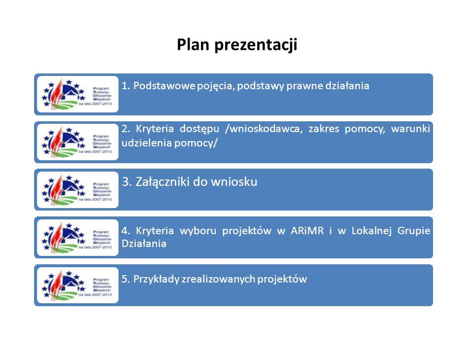 Plan prezentacji 1. Podstawowe pojęcia, podstawy prawne działania 2. Kryteria dostępu /wnioskodawca, zakres pomocy, warunki udzielenia pomocy/ 3. Załą