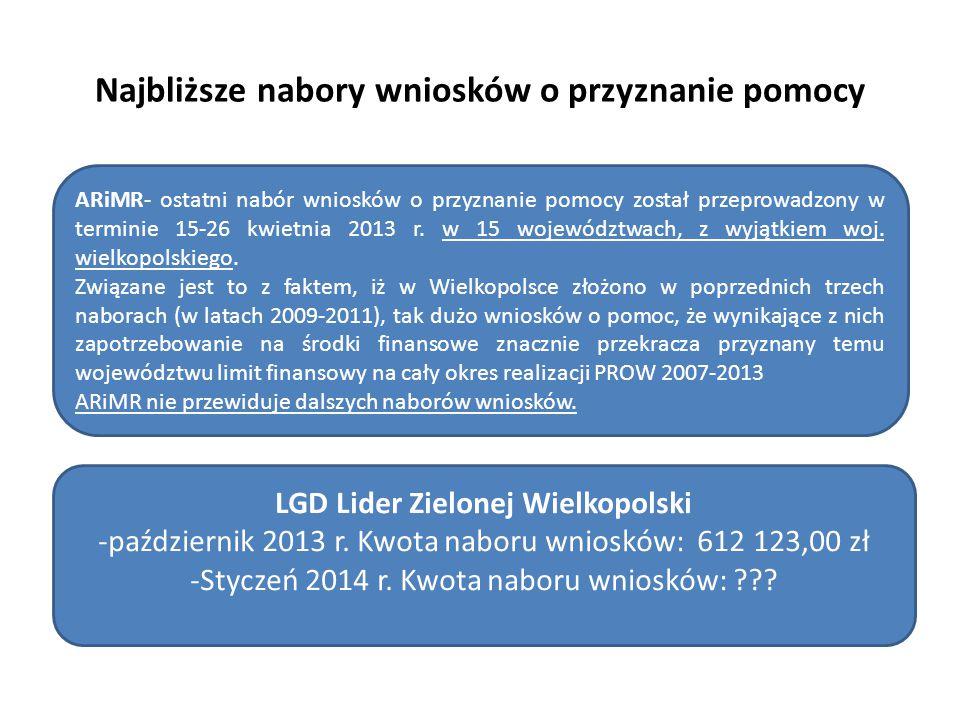 Najbliższe nabory wniosków o przyznanie pomocy ARiMR- ostatni nabór wniosków o przyznanie pomocy został przeprowadzony w terminie 15-26 kwietnia 2013