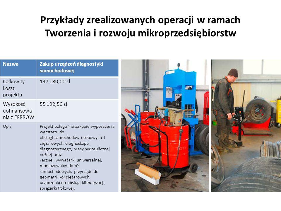 Przykłady zrealizowanych operacji w ramach Tworzenia i rozwoju mikroprzedsiębiorstw NazwaZakup urządzeń diagnostyki samochodowej Całkowity koszt proje