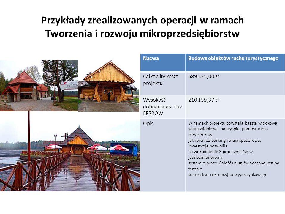 Przykłady zrealizowanych operacji w ramach Tworzenia i rozwoju mikroprzedsiębiorstw NazwaBudowa obiektów ruchu turystycznego Całkowity koszt projektu