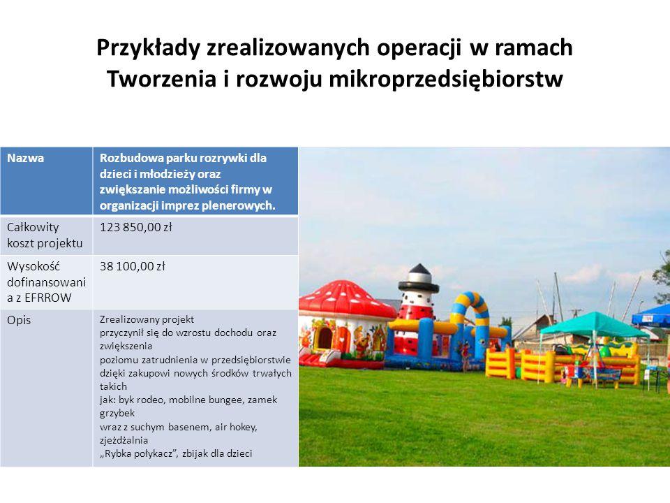 Przykłady zrealizowanych operacji w ramach Tworzenia i rozwoju mikroprzedsiębiorstw NazwaRozbudowa parku rozrywki dla dzieci i młodzieży oraz zwiększa