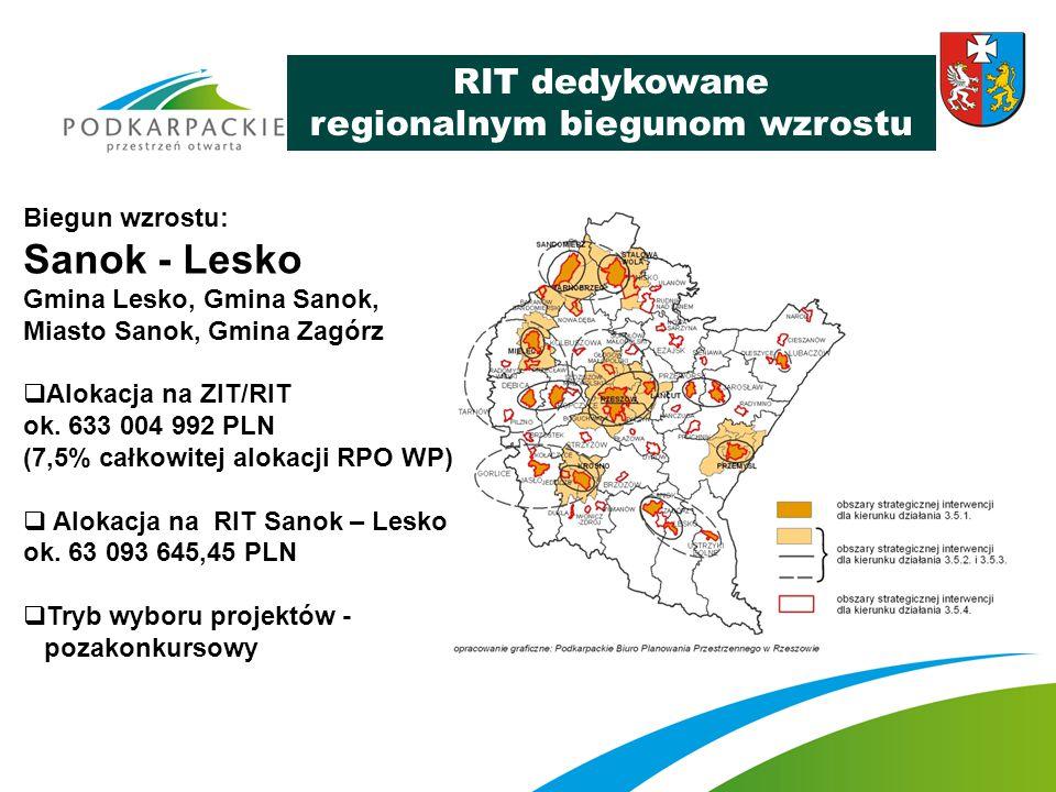 RIT dedykowane regionalnym biegunom wzrostu Biegun wzrostu: Sanok - Lesko Gmina Lesko, Gmina Sanok, Miasto Sanok, Gmina Zagórz  Alokacja na ZIT/RIT o