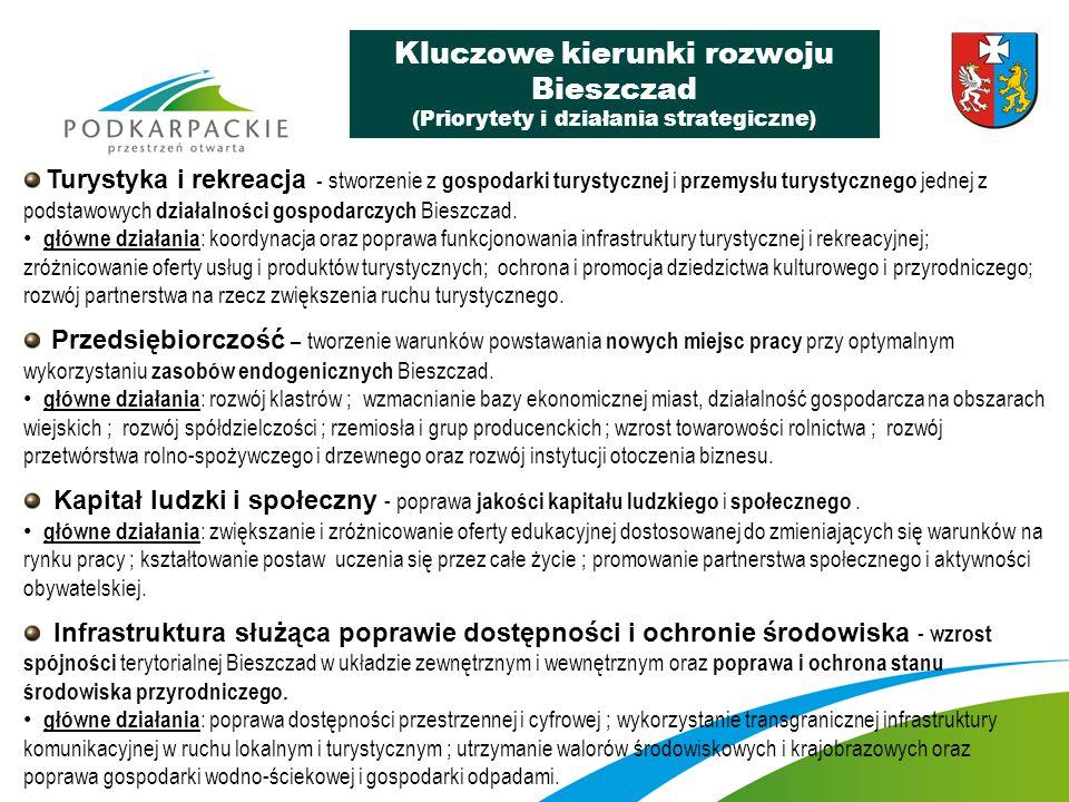 Budowa i modernizacja infrastruktury drogowej i kolejowej Bieszczad, w tym: Modernizacja infrastruktury drogowej Bieszczad zapewniająca poprawę dostępności Bieszczad w układzie zewnętrznym (regionalnym, krajowym) oraz wewnętrznym (dostępność głównych miast oraz dostępność miejsc o szczególnej atrakcyjności turystycznej), Budowa i modernizacja infrastruktury kolejowej Bieszczad wraz z restytucją połączeń kolejowych w ruchu regionalnym i krajowym, Czyste Bieszczady – Bieszczadzki System Gospodarki Wodno–Ściekowej i Składowania Odpadów – projekt budowy i modernizacji instalacji wodnokanalizacyjnych i składowania odpadów na rzecz ochrony walorów środowiskowych i krajobrazowych Bieszczad, Bieszczadzki System Gospodarki Przestrzennej – projekt opracowania i zintegrowania miejscowych planów zagospodarowania przestrzennego (mpzp) z planami ochrony oraz planami zadań ochronnych przy pełnym pokryciu powierzchni ZBGP planami miejscowymi.