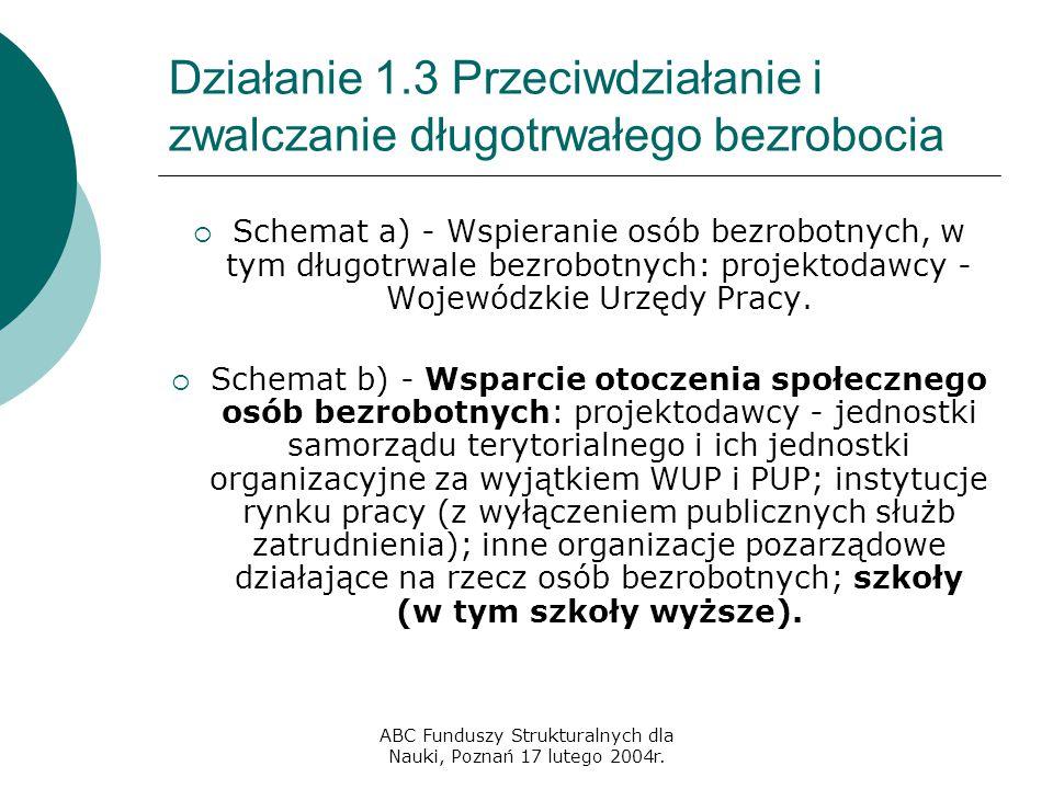 ABC Funduszy Strukturalnych dla Nauki, Poznań 17 lutego 2004r. Działanie 1.3 Przeciwdziałanie i zwalczanie długotrwałego bezrobocia  Schemat a) - Wsp