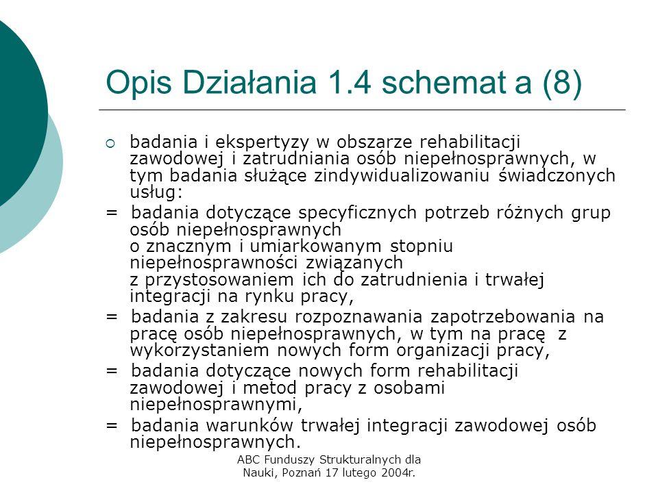 ABC Funduszy Strukturalnych dla Nauki, Poznań 17 lutego 2004r. Opis Działania 1.4 schemat a (8)  badania i ekspertyzy w obszarze rehabilitacji zawodo