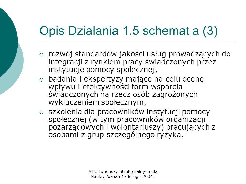 ABC Funduszy Strukturalnych dla Nauki, Poznań 17 lutego 2004r. Opis Działania 1.5 schemat a (3)  rozwój standardów jakości usług prowadzących do inte
