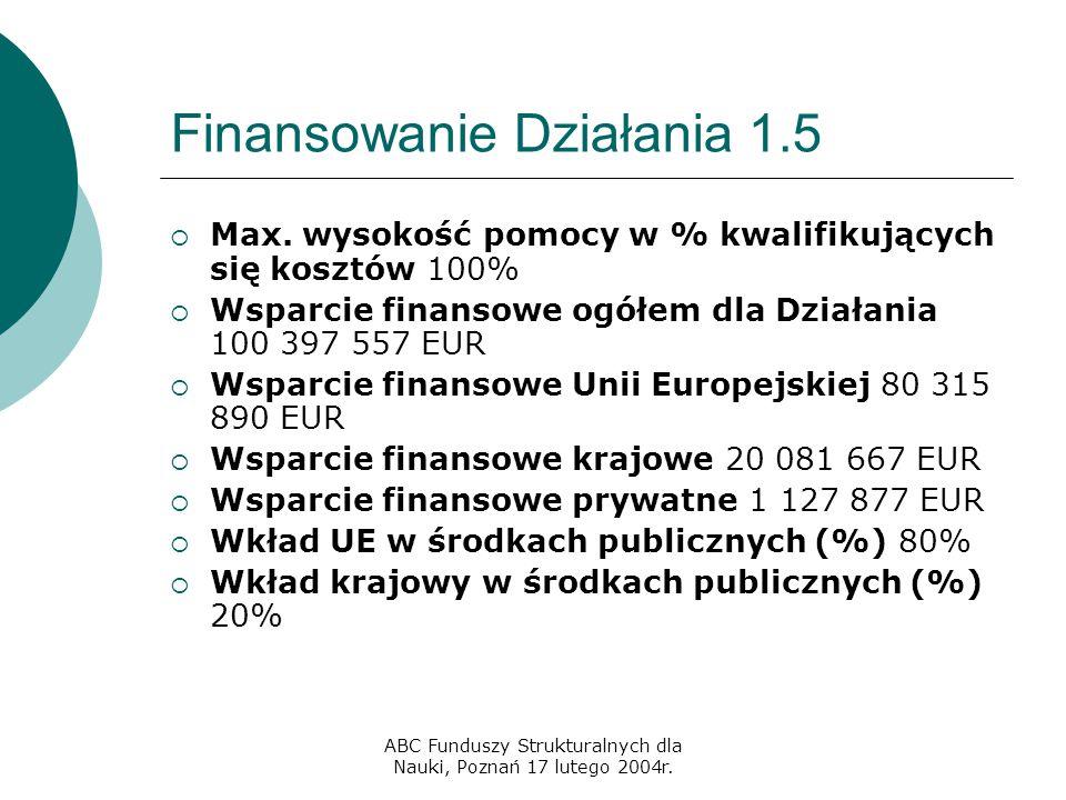 ABC Funduszy Strukturalnych dla Nauki, Poznań 17 lutego 2004r. Finansowanie Działania 1.5  Max. wysokość pomocy w % kwalifikujących się kosztów 100%