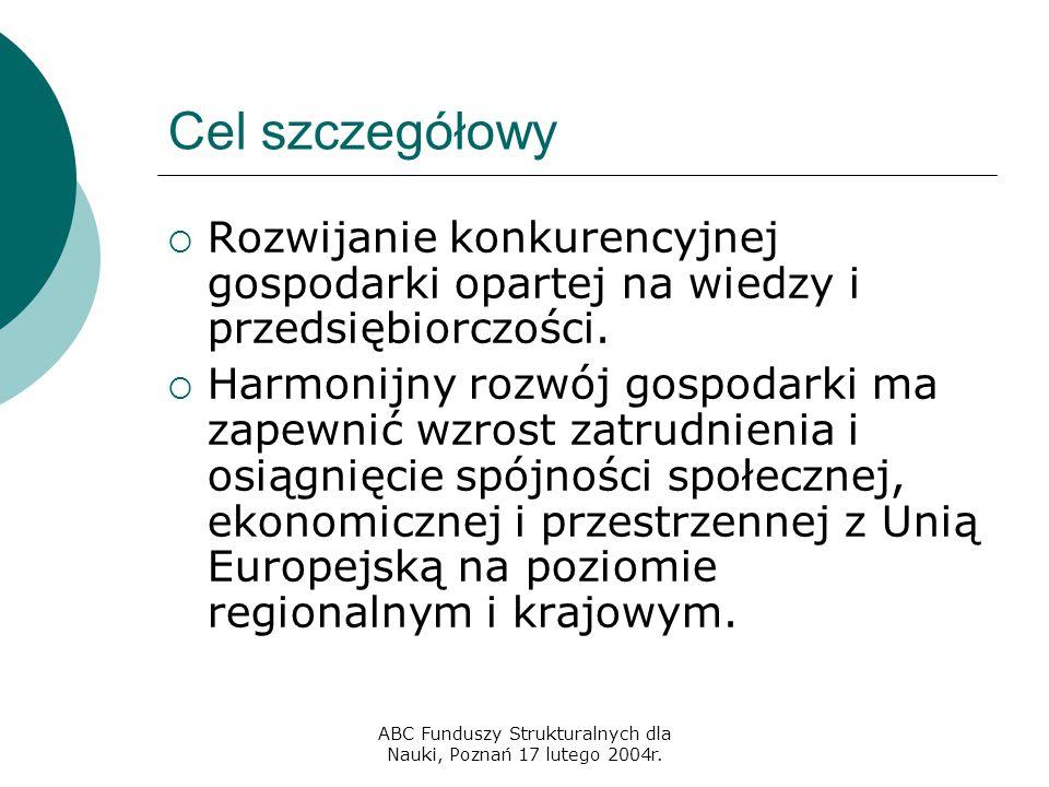 ABC Funduszy Strukturalnych dla Nauki, Poznań 17 lutego 2004r. Cel szczegółowy  Rozwijanie konkurencyjnej gospodarki opartej na wiedzy i przedsiębior