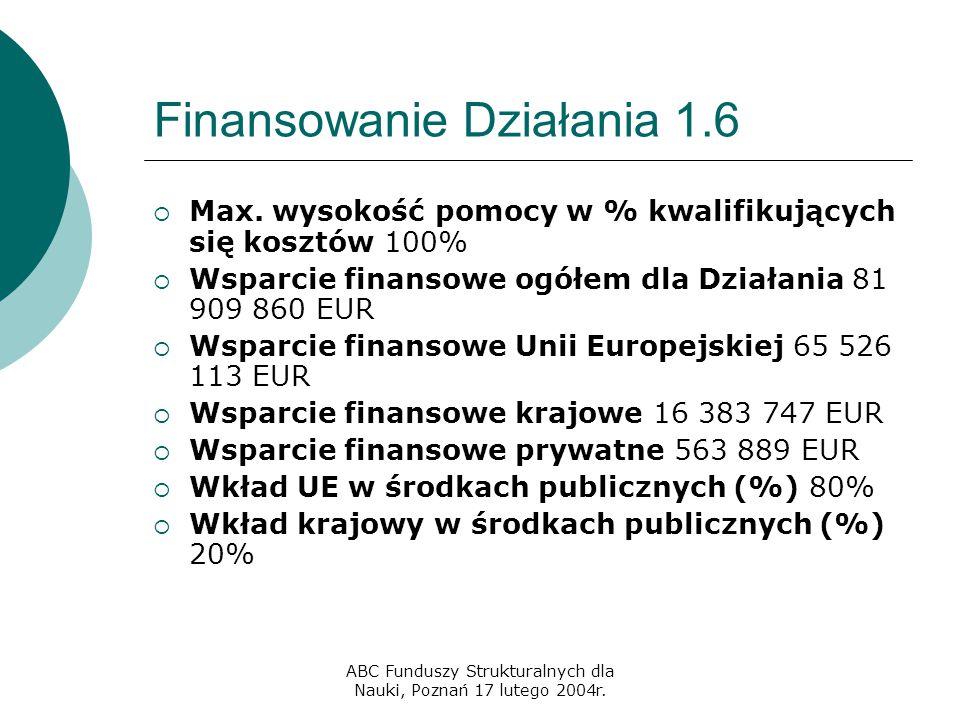 ABC Funduszy Strukturalnych dla Nauki, Poznań 17 lutego 2004r. Finansowanie Działania 1.6  Max. wysokość pomocy w % kwalifikujących się kosztów 100%