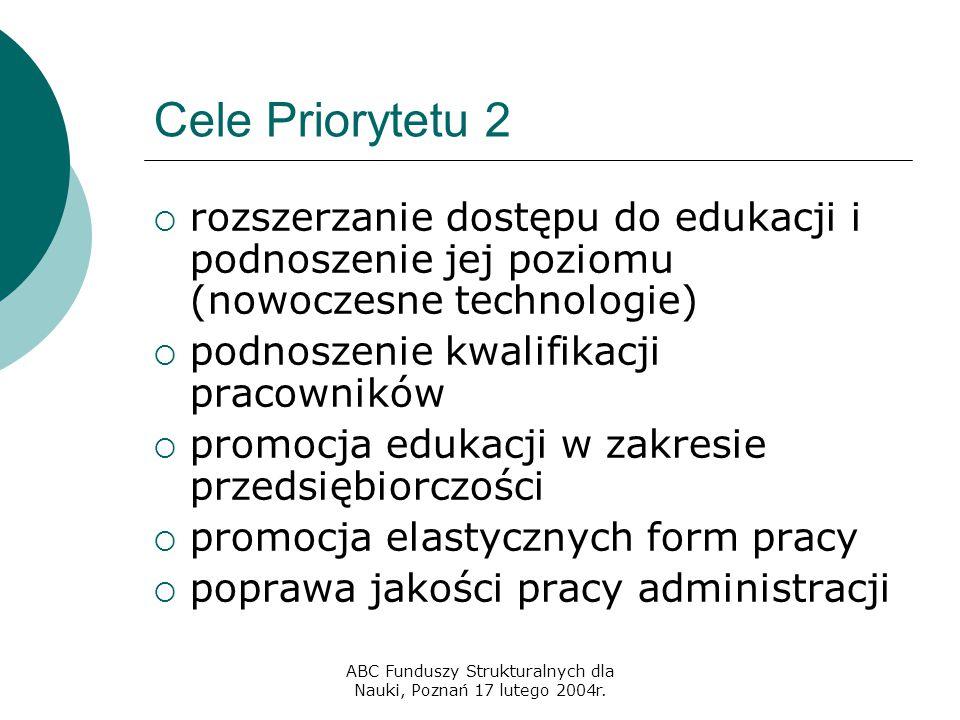 ABC Funduszy Strukturalnych dla Nauki, Poznań 17 lutego 2004r. Cele Priorytetu 2  rozszerzanie dostępu do edukacji i podnoszenie jej poziomu (nowocze