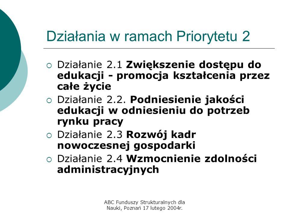 ABC Funduszy Strukturalnych dla Nauki, Poznań 17 lutego 2004r. Działania w ramach Priorytetu 2  Działanie 2.1 Zwiększenie dostępu do edukacji - promo