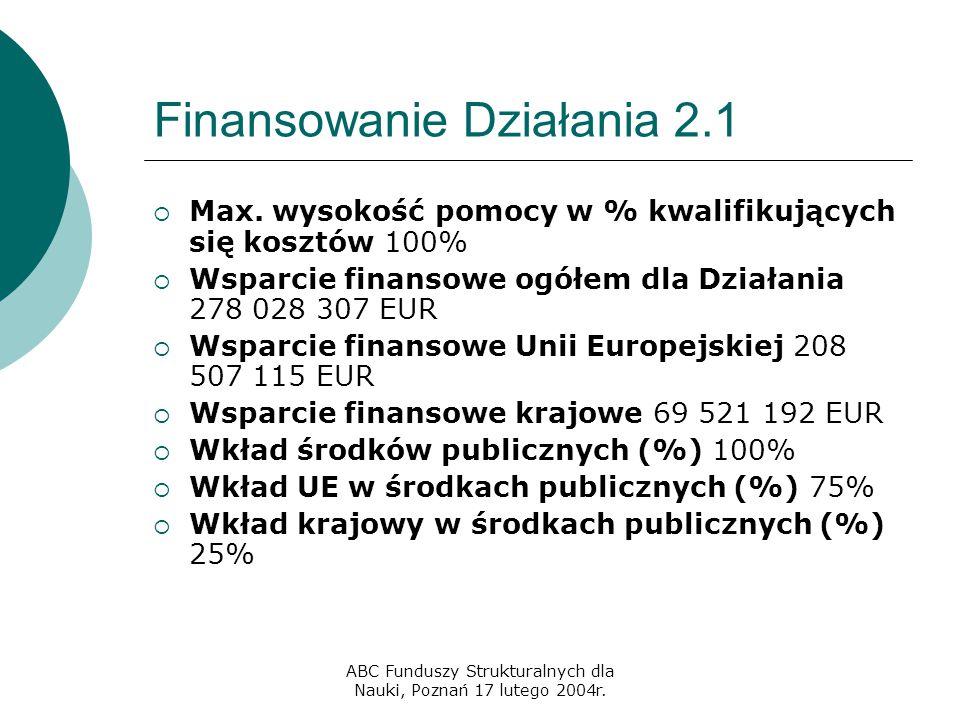 ABC Funduszy Strukturalnych dla Nauki, Poznań 17 lutego 2004r. Finansowanie Działania 2.1  Max. wysokość pomocy w % kwalifikujących się kosztów 100%