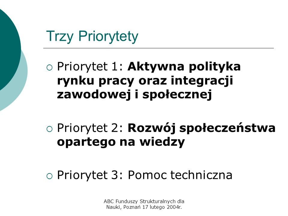ABC Funduszy Strukturalnych dla Nauki, Poznań 17 lutego 2004r. Trzy Priorytety  Priorytet 1: Aktywna polityka rynku pracy oraz integracji zawodowej i