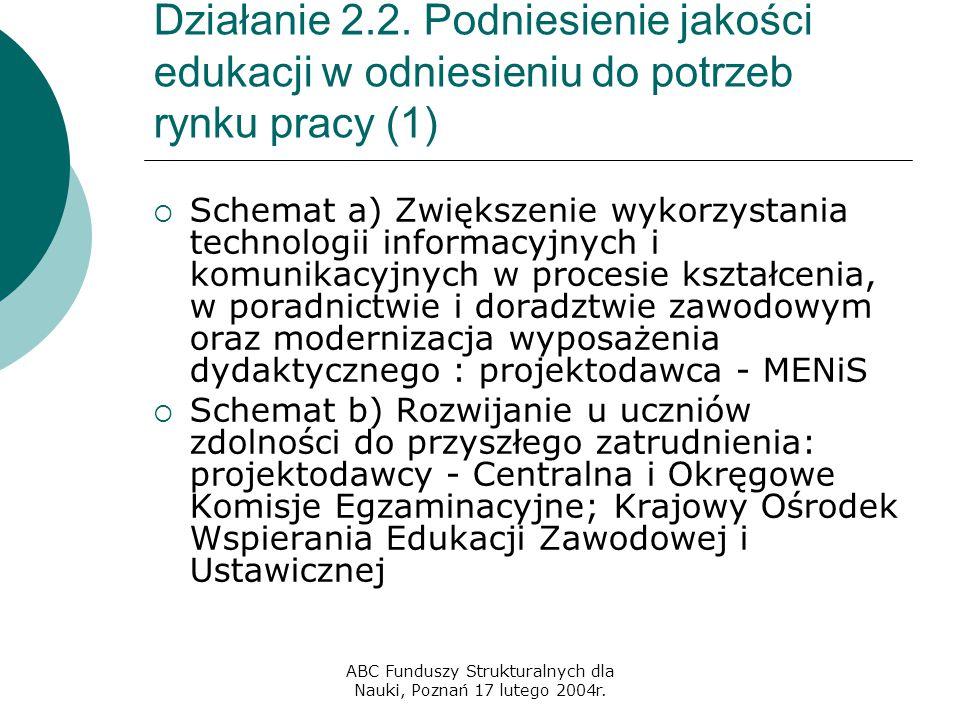 ABC Funduszy Strukturalnych dla Nauki, Poznań 17 lutego 2004r. Działanie 2.2. Podniesienie jakości edukacji w odniesieniu do potrzeb rynku pracy (1) 