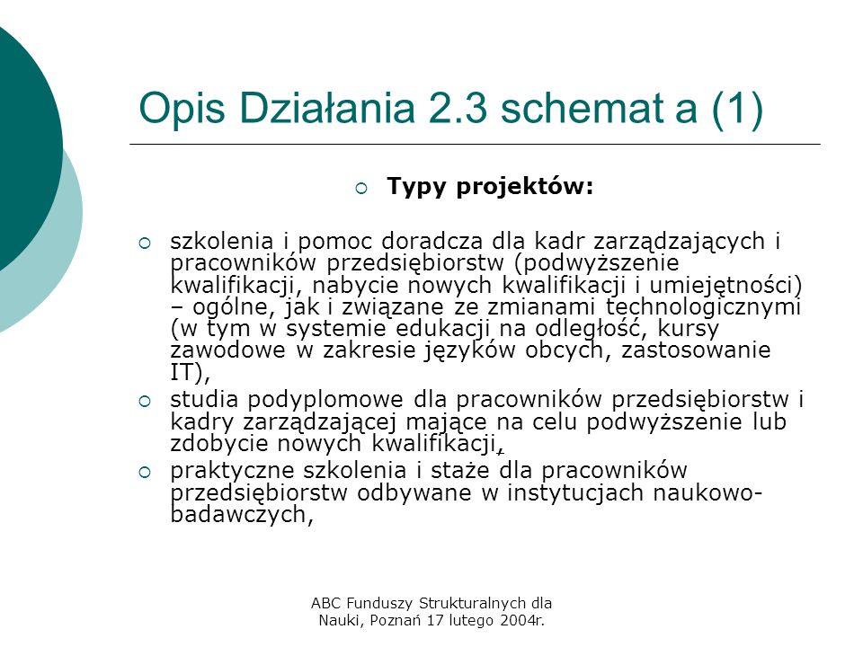ABC Funduszy Strukturalnych dla Nauki, Poznań 17 lutego 2004r. Opis Działania 2.3 schemat a (1)  Typy projektów:  szkolenia i pomoc doradcza dla kad