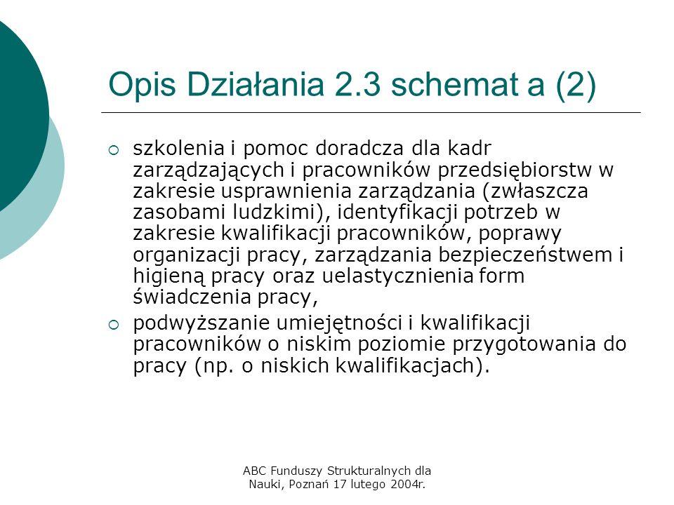 ABC Funduszy Strukturalnych dla Nauki, Poznań 17 lutego 2004r. Opis Działania 2.3 schemat a (2)  szkolenia i pomoc doradcza dla kadr zarządzających i