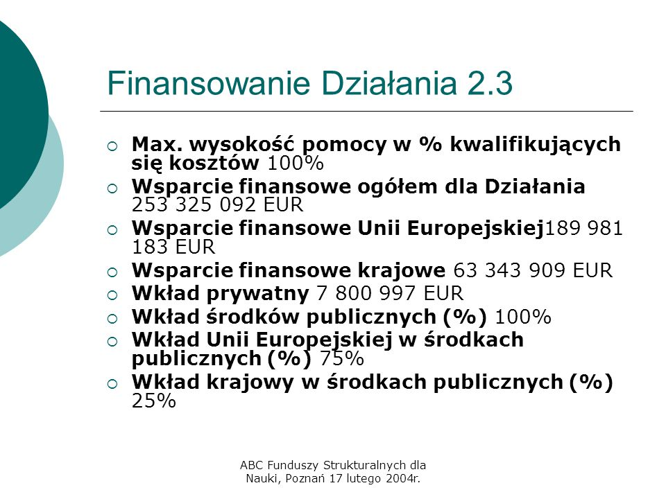 ABC Funduszy Strukturalnych dla Nauki, Poznań 17 lutego 2004r. Finansowanie Działania 2.3  Max. wysokość pomocy w % kwalifikujących się kosztów 100%