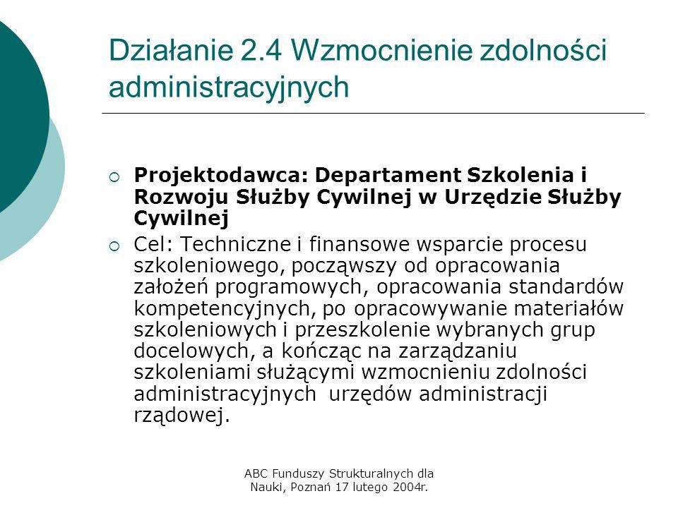ABC Funduszy Strukturalnych dla Nauki, Poznań 17 lutego 2004r. Działanie 2.4 Wzmocnienie zdolności administracyjnych  Projektodawca: Departament Szko