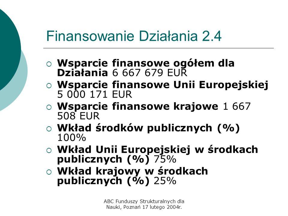 ABC Funduszy Strukturalnych dla Nauki, Poznań 17 lutego 2004r. Finansowanie Działania 2.4  Wsparcie finansowe ogółem dla Działania 6 667 679 EUR  Ws