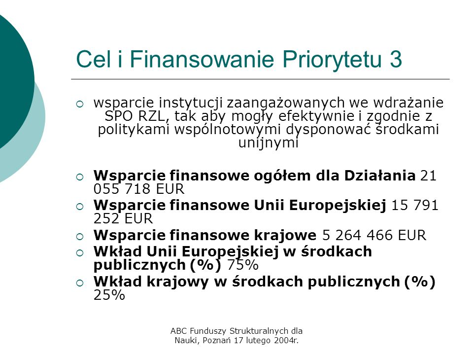 ABC Funduszy Strukturalnych dla Nauki, Poznań 17 lutego 2004r. Cel i Finansowanie Priorytetu 3  wsparcie instytucji zaangażowanych we wdrażanie SPO R