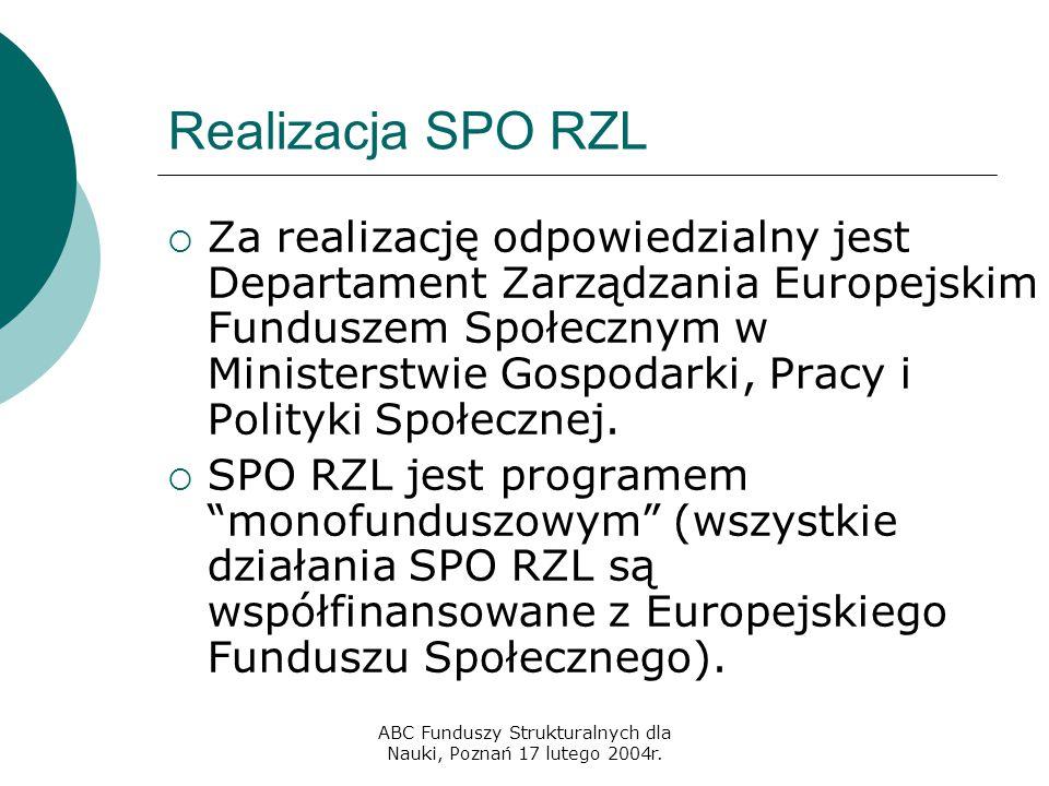 ABC Funduszy Strukturalnych dla Nauki, Poznań 17 lutego 2004r. Realizacja SPO RZL  Za realizację odpowiedzialny jest Departament Zarządzania Europejs