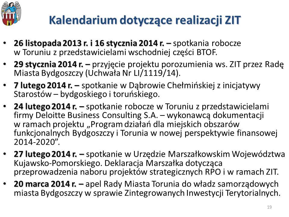 19 Kalendarium dotyczące realizacji ZIT 26 listopada 2013 r. i 16 stycznia 2014 r. – 26 listopada 2013 r. i 16 stycznia 2014 r. – spotkania robocze w