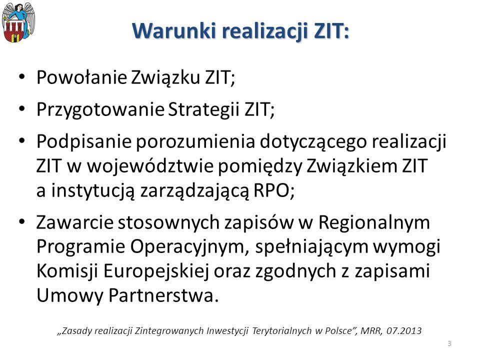3 Warunki realizacji ZIT: Powołanie Związku ZIT; Przygotowanie Strategii ZIT; Podpisanie porozumienia dotyczącego realizacji ZIT w województwie pomiędzy Związkiem ZIT a instytucją zarządzającą RPO; Zawarcie stosownych zapisów w Regionalnym Programie Operacyjnym, spełniającym wymogi Komisji Europejskiej oraz zgodnych z zapisami Umowy Partnerstwa.