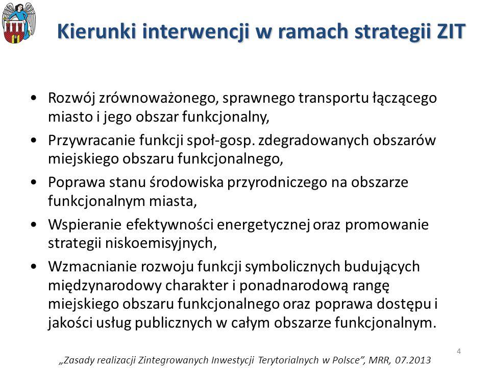4 Kierunki interwencji w ramach strategii ZIT Rozwój zrównoważonego, sprawnego transportu łączącego miasto i jego obszar funkcjonalny, Przywracanie funkcji społ-gosp.