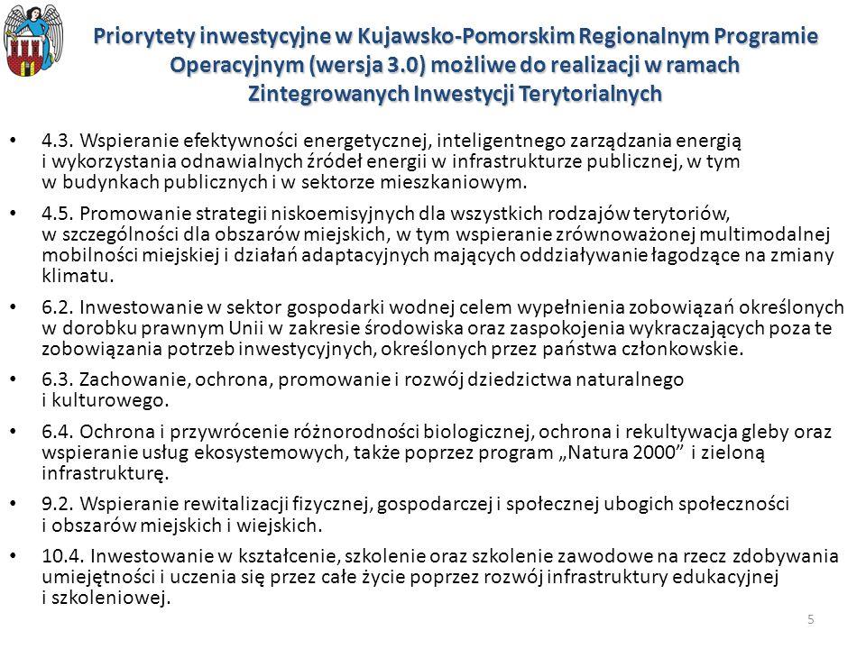 5 Priorytety inwestycyjne w Kujawsko-Pomorskim Regionalnym Programie Operacyjnym (wersja 3.0) możliwe do realizacji w ramach Zintegrowanych Inwestycji