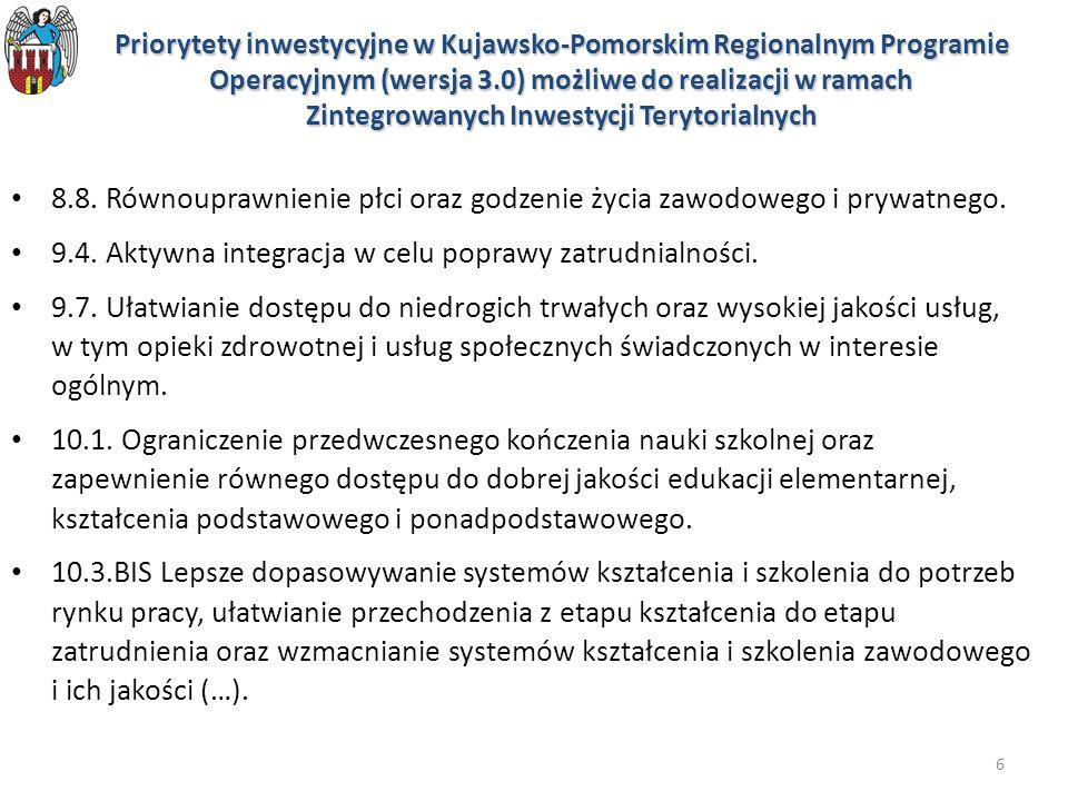7 Zasady realizacji ZIT w dokumentach rządowych Koncepcja Przestrzennego Zagospodarowania Kraju 2030 Krajowa Strategia Rozwoju Regionalnego do roku 2020 Umowa Partnerstwa Zasady realizacji Zintegrowanych Inwestycji Terytorialnych w Polsce jeden zwarty obszar funkcjonalny W przypadku województwa kujawsko-pomorskiego występuje jeden zwarty obszar funkcjonalny, w skład którego wchodzą Bydgoszcz, Toruń i gminy powiązane z nimi funkcjonalnie.