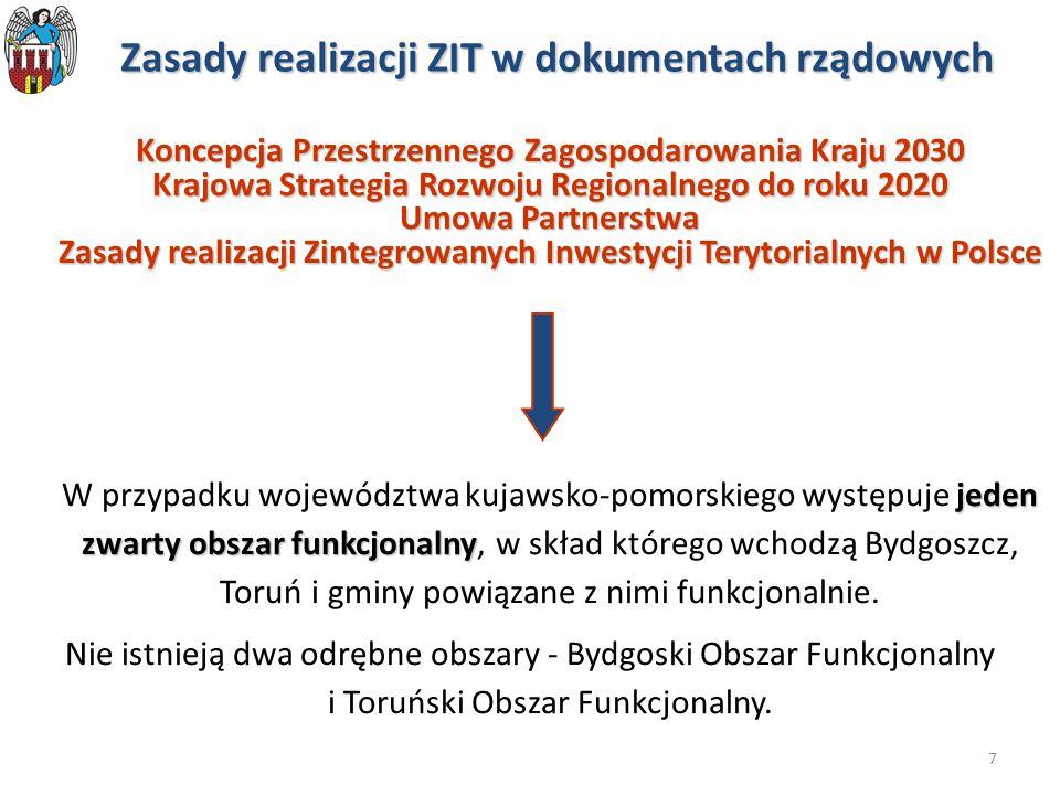 7 Zasady realizacji ZIT w dokumentach rządowych Koncepcja Przestrzennego Zagospodarowania Kraju 2030 Krajowa Strategia Rozwoju Regionalnego do roku 20
