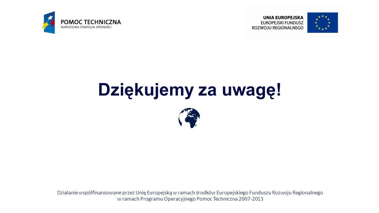 Dziękujemy za uwagę! Działanie współfinansowane przez Unię Europejską w ramach środków Europejskiego Funduszu Rozwoju Regionalnego w ramach Programu O
