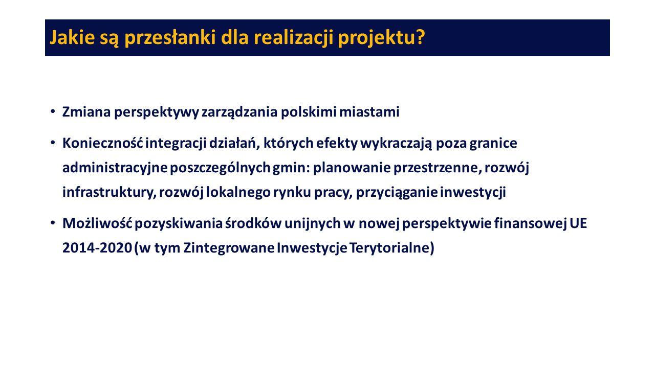 Jakie są przesłanki dla realizacji projektu? Zmiana perspektywy zarządzania polskimi miastami Konieczność integracji działań, których efekty wykraczaj