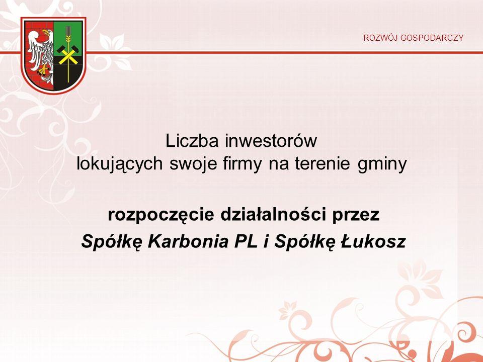 Liczba inwestorów lokujących swoje firmy na terenie gminy rozpoczęcie działalności przez Spółkę Karbonia PL i Spółkę Łukosz ROZWÓJ GOSPODARCZY
