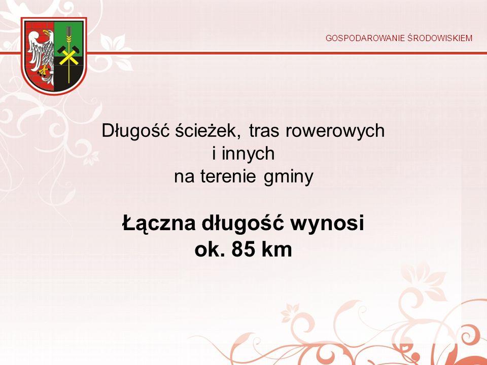 Długość ścieżek, tras rowerowych i innych na terenie gminy Łączna długość wynosi ok. 85 km GOSPODAROWANIE ŚRODOWISKIEM