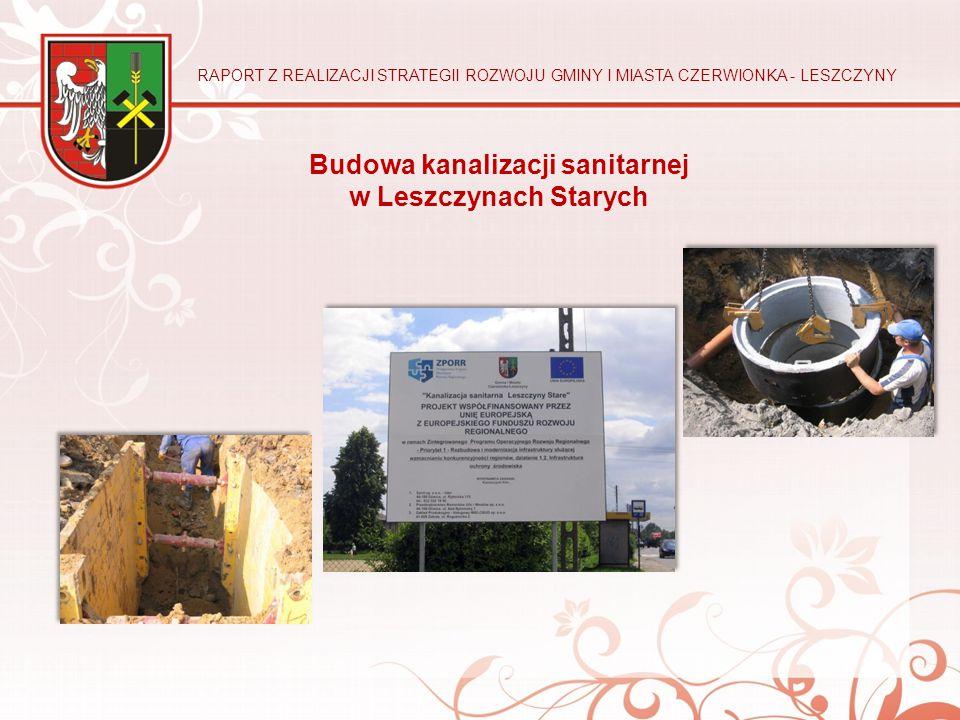 Budowa kanalizacji sanitarnej w Leszczynach Starych RAPORT Z REALIZACJI STRATEGII ROZWOJU GMINY I MIASTA CZERWIONKA - LESZCZYNY