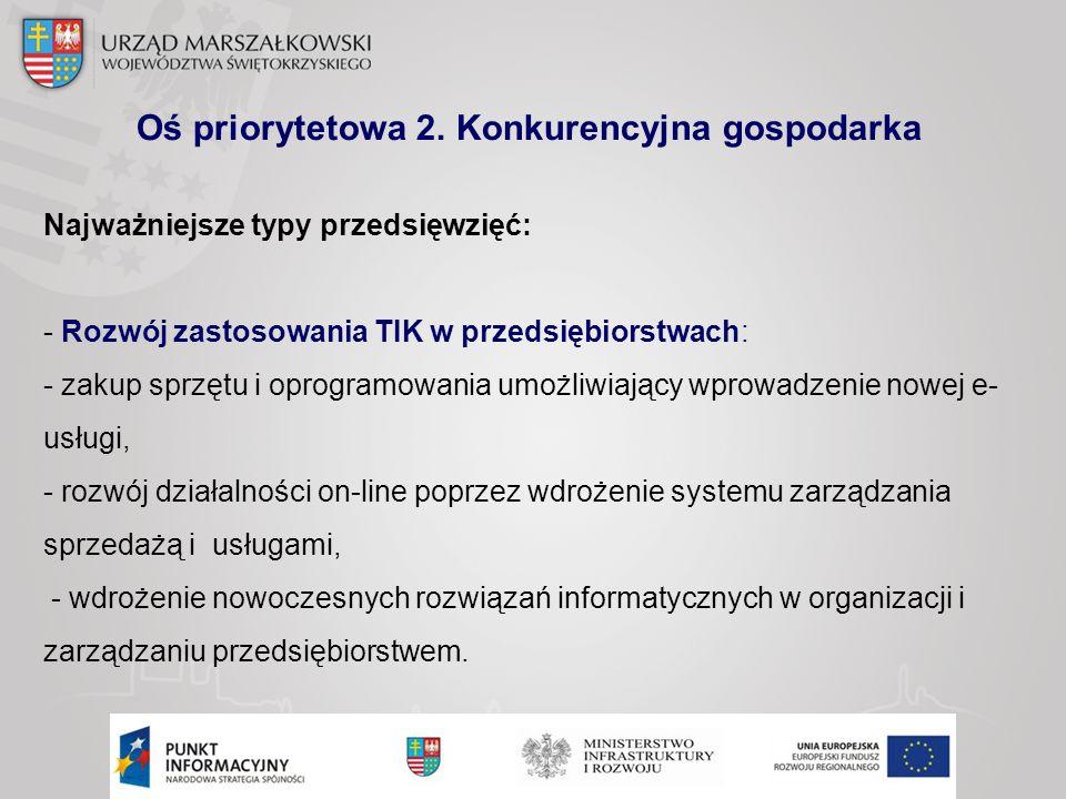 Oś priorytetowa 2. Konkurencyjna gospodarka Najważniejsze typy przedsięwzięć: - Rozwój zastosowania TIK w przedsiębiorstwach: - zakup sprzętu i oprogr