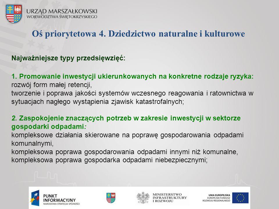 Oś priorytetowa 4. Dziedzictwo naturalne i kulturowe Najważniejsze typy przedsięwzięć: 1. Promowanie inwestycji ukierunkowanych na konkretne rodzaje r