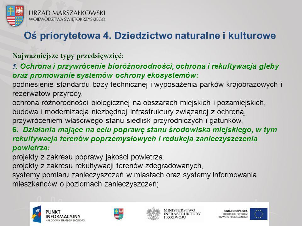 Oś priorytetowa 4. Dziedzictwo naturalne i kulturowe Najważniejsze typy przedsięwzięć: 5. Ochrona i przywrócenie bioróżnorodności, ochrona i rekultywa