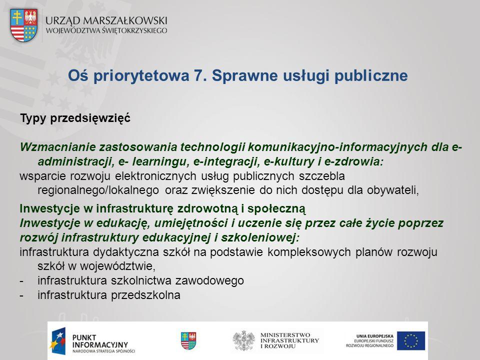 Oś priorytetowa 7. Sprawne usługi publiczne Typy przedsięwzięć Wzmacnianie zastosowania technologii komunikacyjno-informacyjnych dla e- administracji,