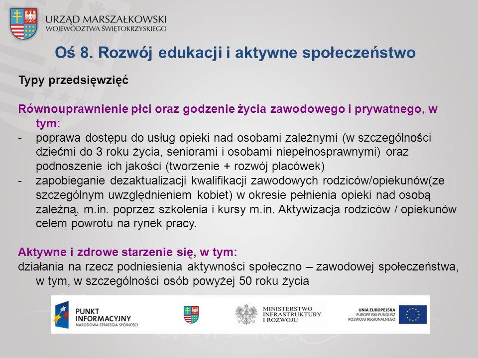 Oś 8. Rozwój edukacji i aktywne społeczeństwo Typy przedsięwzięć Równouprawnienie płci oraz godzenie życia zawodowego i prywatnego, w tym: -poprawa do