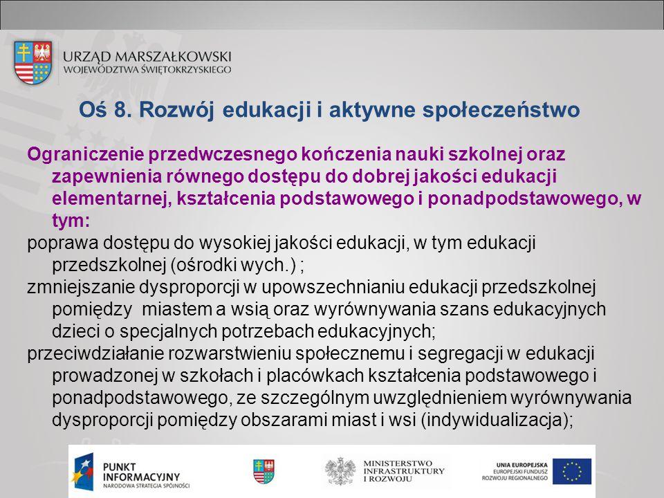 Oś 8. Rozwój edukacji i aktywne społeczeństwo Ograniczenie przedwczesnego kończenia nauki szkolnej oraz zapewnienia równego dostępu do dobrej jakości