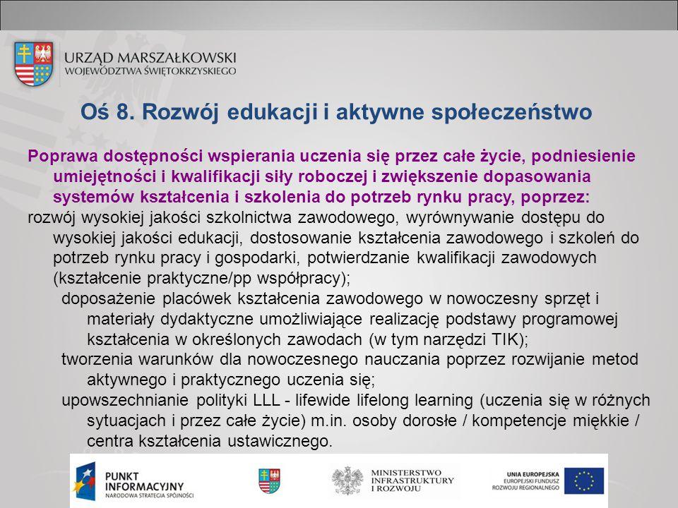 Oś 8. Rozwój edukacji i aktywne społeczeństwo Poprawa dostępności wspierania uczenia się przez całe życie, podniesienie umiejętności i kwalifikacji si