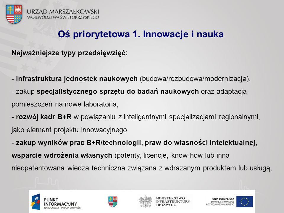 Oś priorytetowa 1. Innowacje i nauka Najważniejsze typy przedsięwzięć: - infrastruktura jednostek naukowych (budowa/rozbudowa/modernizacja), - zakup s