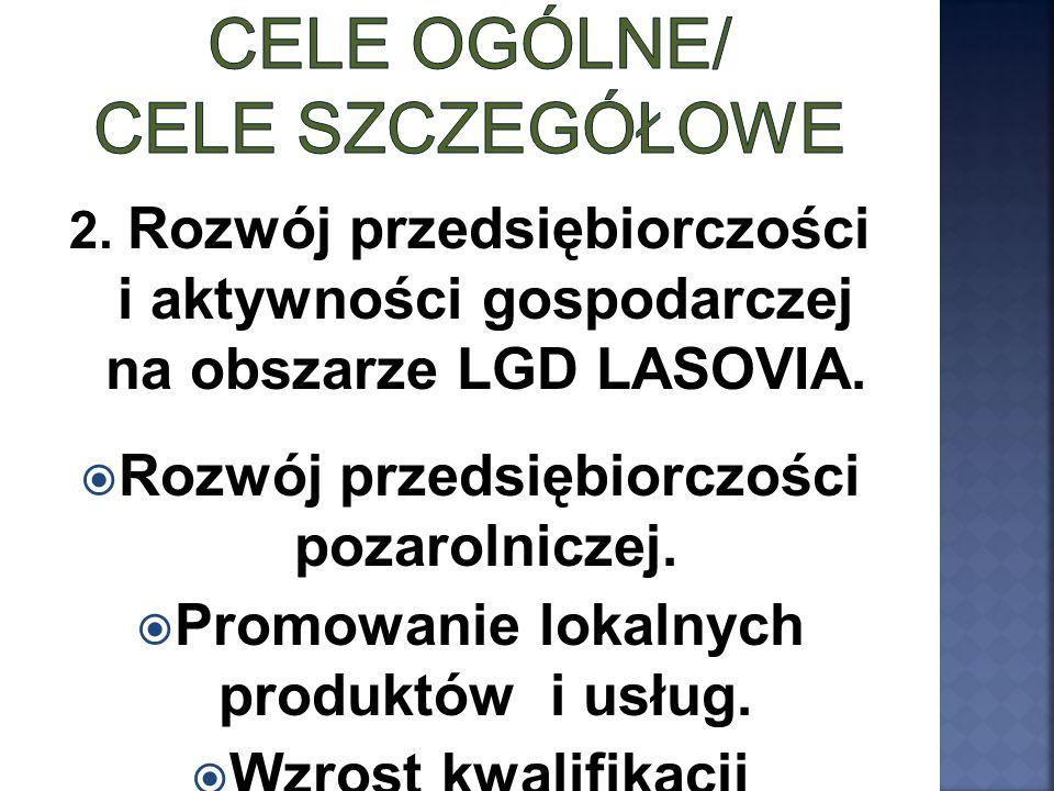 2. Rozwój przedsiębiorczości i aktywności gospodarczej na obszarze LGD LASOVIA.  Rozwój przedsiębiorczości pozarolniczej.  Promowanie lokalnych prod