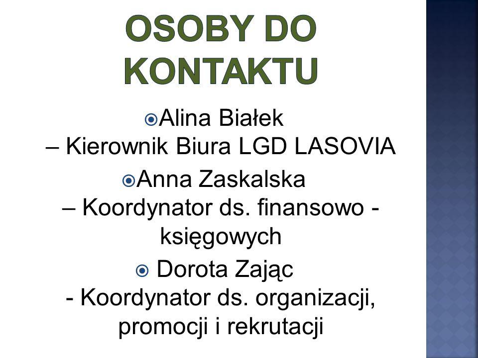  Alina Białek – Kierownik Biura LGD LASOVIA  Anna Zaskalska – Koordynator ds. finansowo - księgowych  Dorota Zając - Koordynator ds. organizacji, p