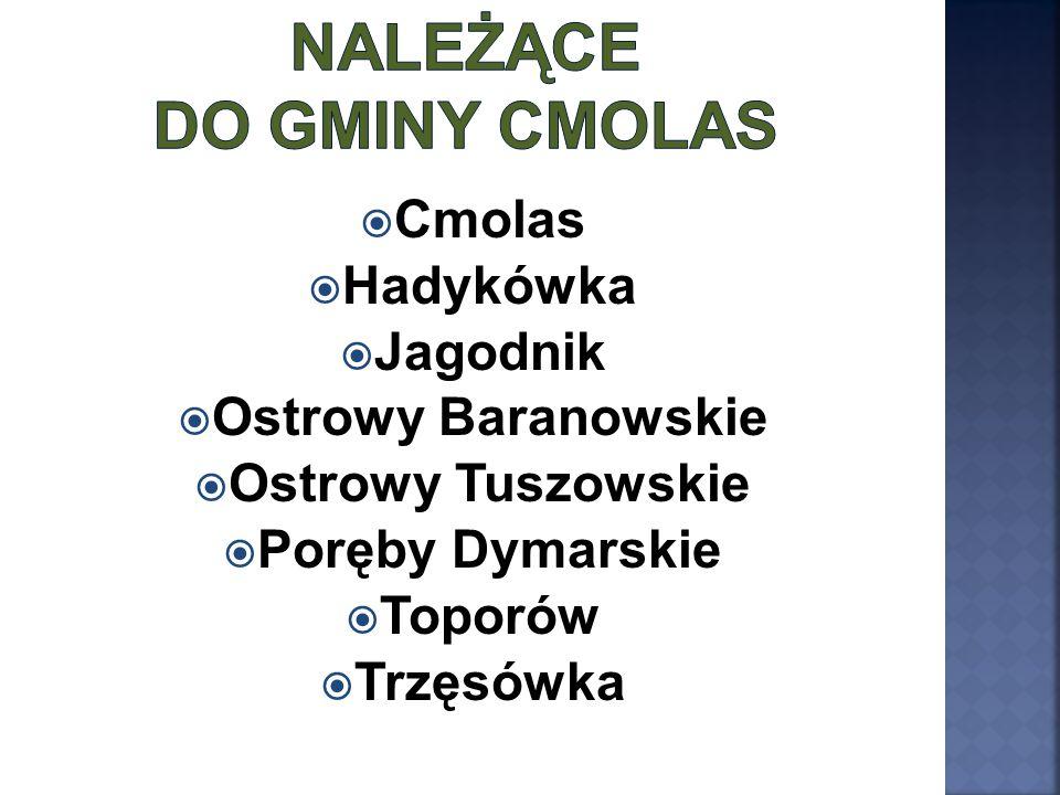  Cmolas  Hadykówka  Jagodnik  Ostrowy Baranowskie  Ostrowy Tuszowskie  Poręby Dymarskie  Toporów  Trzęsówka