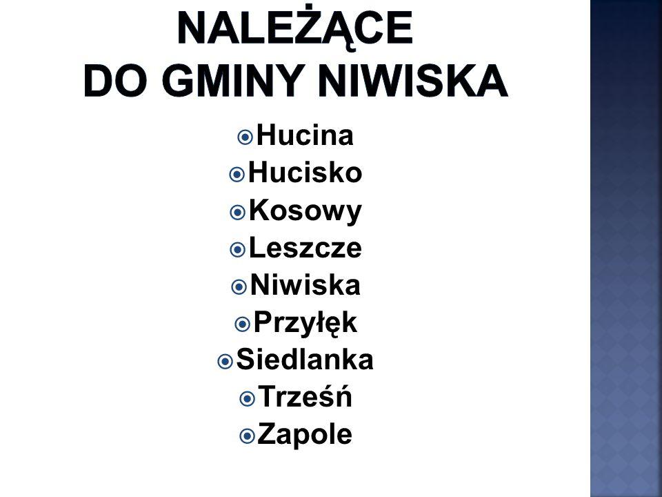  Hucina  Hucisko  Kosowy  Leszcze  Niwiska  Przyłęk  Siedlanka  Trześń  Zapole